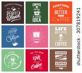 set of vintage wine typographic ... | Shutterstock .eps vector #307819241
