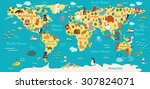 animals world map. vector... | Shutterstock .eps vector #307824071