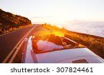romantic couple driving into... | Shutterstock . vector #307824461