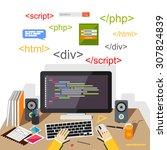 web developer or programmer... | Shutterstock .eps vector #307824839