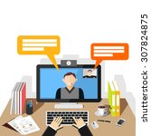 video conference illustration.... | Shutterstock .eps vector #307824875