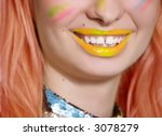 colorful smile with white teeth ... | Shutterstock . vector #3078279