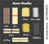 asian noodles including soba ... | Shutterstock .eps vector #307830851