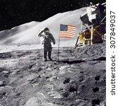 Astronaut On Lunar  Moon ...