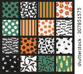set of halloween patterns with... | Shutterstock .eps vector #307851575