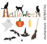 set of halloween elements.... | Shutterstock .eps vector #307851761