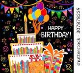 birthday card. celebration... | Shutterstock . vector #307878239