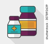 medical bottle flat icon with... | Shutterstock .eps vector #307892639