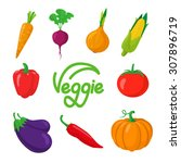 autumn vegetables symbols... | Shutterstock .eps vector #307896719