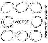 set of hand drawn highlight... | Shutterstock .eps vector #307902809