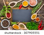 various spices and vintage... | Shutterstock . vector #307905551