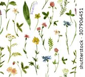 seamless floral pattern with... | Shutterstock . vector #307906451