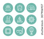 a set of vector line icons for... | Shutterstock .eps vector #307906937
