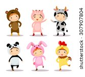 illustration of cute kids... | Shutterstock .eps vector #307907804