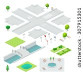 isometric city elements. | Shutterstock .eps vector #307915301