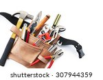 tool belt with tools on white... | Shutterstock . vector #307944359