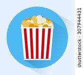 bucket of popcorn round icon.... | Shutterstock .eps vector #307944431