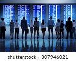 business people airport... | Shutterstock . vector #307946021