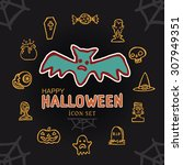 happy halloween day icon set bat | Shutterstock .eps vector #307949351