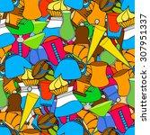 breakfast  seamless doodle...   Shutterstock . vector #307951337