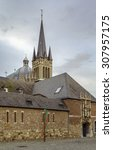Small photo of view of Aachen Cathedral and Entrance to the Aachen Cathedral Treasury, Germany