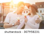 happiness couple with ice cream ... | Shutterstock . vector #307958231