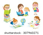 children study | Shutterstock .eps vector #307960271
