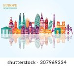 europe skyline detailed... | Shutterstock .eps vector #307969334