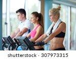 beautiful group of young women... | Shutterstock . vector #307973315