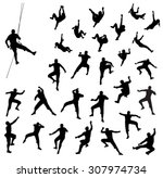 rock climber silhouettes  ... | Shutterstock .eps vector #307974734