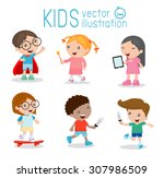 happy cartoon kids playing ... | Shutterstock .eps vector #307986509