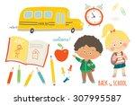 school set   funny hand drawn...   Shutterstock .eps vector #307995587