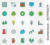 energy icons set   vector power ... | Shutterstock .eps vector #307996079