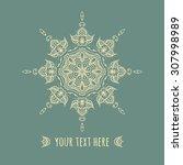 hand drawn boho style frame on... | Shutterstock .eps vector #307998989