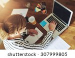 young female entrepreneur... | Shutterstock . vector #307999805