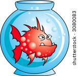 red angry comic fish in aquarium | Shutterstock .eps vector #3080083