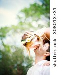 happy young couple is kissing... | Shutterstock . vector #308013731