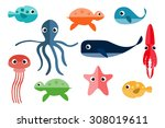 marine animals. underwater... | Shutterstock .eps vector #308019611