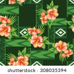 design pattern summer style... | Shutterstock .eps vector #308035394