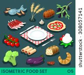 a lot on my plate modular food... | Shutterstock .eps vector #308057141