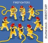 hero firefighter hydrant fire...   Shutterstock .eps vector #308057189