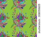 seamless floral pattern on... | Shutterstock .eps vector #308058605
