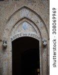 piazza salimbeni in siena ... | Shutterstock . vector #308069969