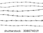 Set Of Silhouette Barbed Wire...