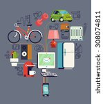 cool detailed vector concept... | Shutterstock .eps vector #308074811
