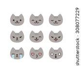 Set Of Cat Emoticons In Simple...