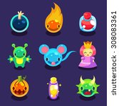 cartoon funny monsters set game ...
