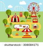 amusement park infographic... | Shutterstock .eps vector #308084171