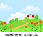 landscape with a house and... | Shutterstock .eps vector #30809836