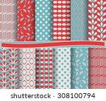set of abstract vector paper... | Shutterstock .eps vector #308100794